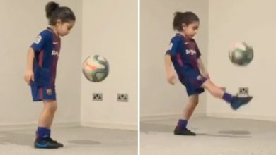 Photo of Messi wannabe Arat Hosseini, 6, exhibits off shock six-pack and completes 3,000 keepy-ups after providing himself to Barca