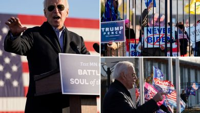 Photo of Biden calls Trump supporters 'UGLY of us' in surprising outburst as they beeped horns throughout drive-in rally in Minnesota